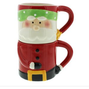 Santa Claus Set of 2 Christmas Stacking Mugs