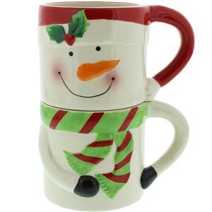 Home Living Set of 2 Stacking Christmas Mugs - Snowmen