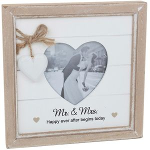 Provence Message Heart Photo Frame Mr & Mrs