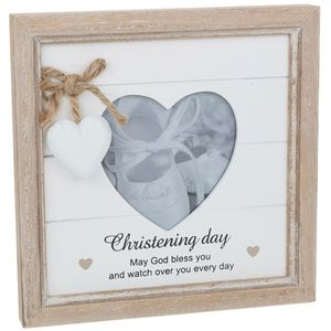 Provence Message Heart Photo Frame - Christening