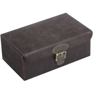 Khaki Brown Watch / Cufflink Box with Khaki Lining