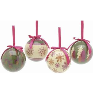 Christmas Tree Baubles - Decoupage Modern Designs Pack of 4 Assorted