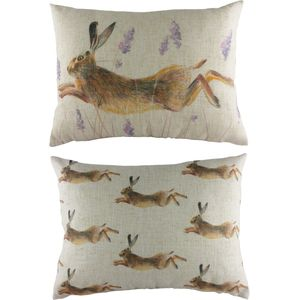 "Leaping Hare Cushion 17""x13"""