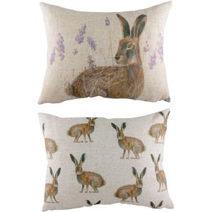 Evans Lichfield Rural Collection Cushion: Standing Hare 43cm x 33cm