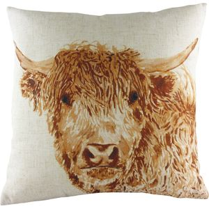Evans Lichfield Rural Collection Cushion Cover: Angus Highland Cow 17x17""