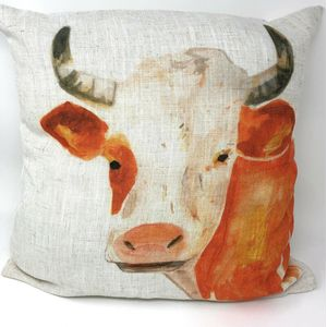Evans Lichfield Rural Collection Cushion Cover: Lesley Cow 17x17""
