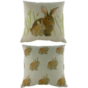 "Evans Lichfield Rural Collection Cushion Cover: Bunnies 17x17"""