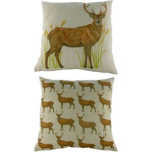 Stag Standing Repeat Cushion 17""