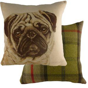"""Waggydogz Pug Cushion Cover 17x17"""""""