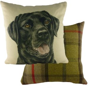 "Evans Lichfield Waggydogz Cushion Cover: Black Labrador 17x17"""
