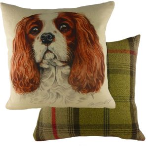 "Evans Lichfield Waggydogz Cushion Cover: King Charles Spaniel 17x17"""