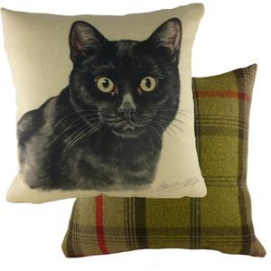 Waggydogz Black Cat Cushion Cover 17x17""