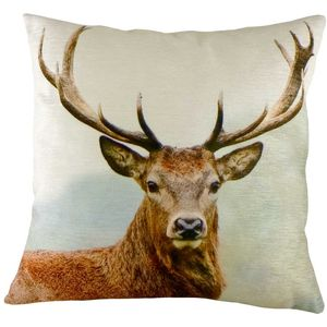 Stags Head Velvet Cushion Cover 17""