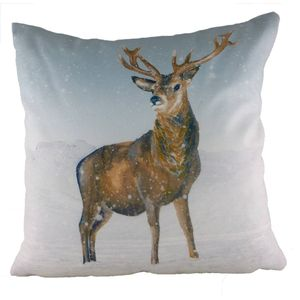 Stag Snow Scene Cushion 17""