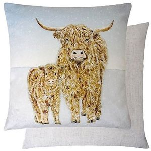 Evans Lichfield Christmas Collection Cushion Cover: Highland Cow Snow Scene