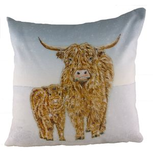 Highland Cow Snow Scene Cushion Cover 17x17""
