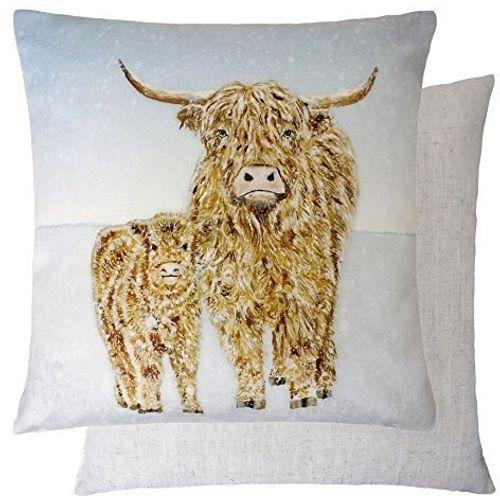 Evans Lichfield Christmas Collection Cushion: Highland Cow Snow Scene 43cm