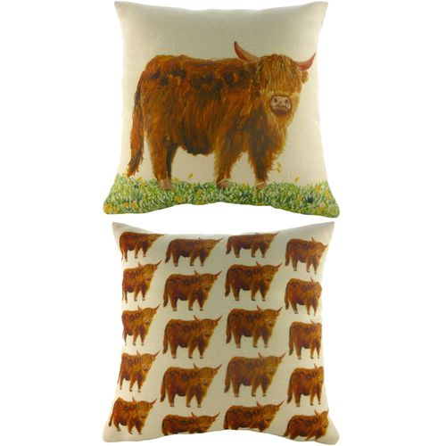 Evans Lichfield Majestic Beasts Collection Cushion: Highland Cow 43cm x 43cm