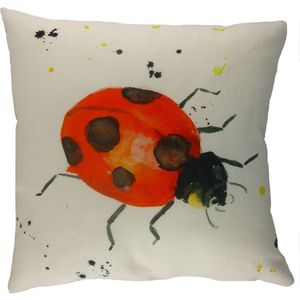 Ladybird Splash Cushion Cover 17x17""