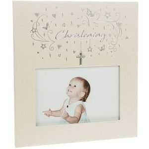 "Hearts and Stars Christening Photo Frame 5.5"" x 3.5"""