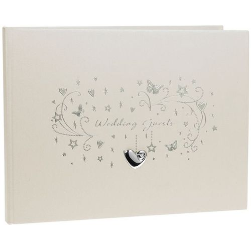 pale shimmer cream Wedding guest book with silver metallic hearts and butterflies