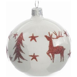 White Bauble with Red Deer & Tree 80mm set of 2