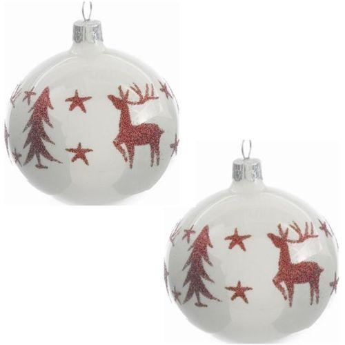 Christmas Tree Baubles - White with Red Deer Pack of 2