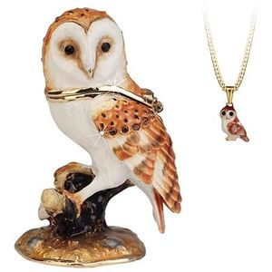 Hidden Treasures Secrets Barn Owl Trinket Box