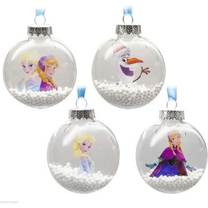 Frozen Glastic Christmas Tree Baubles 4 Asst