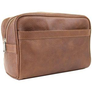 British Bag Company Oily Leather Wash Bag - Tan