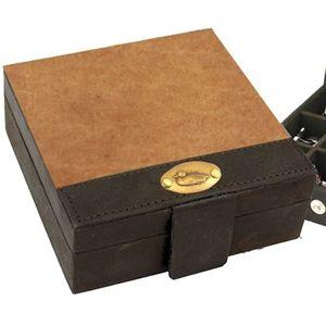 British Bag Company Duck Logo Leather Cufflinks Trinket Box - Tan/Brown