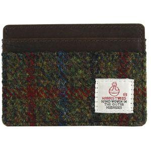 Harris Tweed Card Holder Leather Trim: Breanais Green