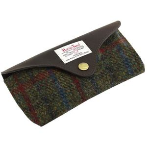 Harris Tweed Glasses Case Leather Trim: Breanais Green