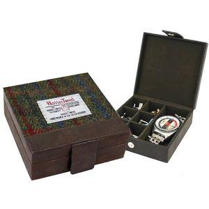 Harris Tweed Cufflinks/Watch Trinket Box: Breanais Green