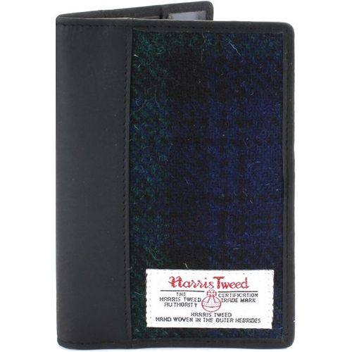 Harris Tweed  Leather Trim Passport Holder: Bragar Black Watch Tartan