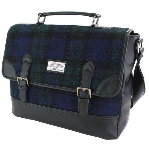 Harris Tweed & PU Satchel Briefcase: Bragar Black Watch Tartan