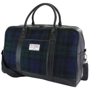 Harris Tweed Travel Holdall PU Trim: Bragar Black Watch