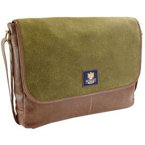British Bag Company Waxed Canvas Messenger Bag - Khaki/Brown