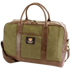 British Bag Company Waxed Canvas Travel Holdall - Khaki/Brown