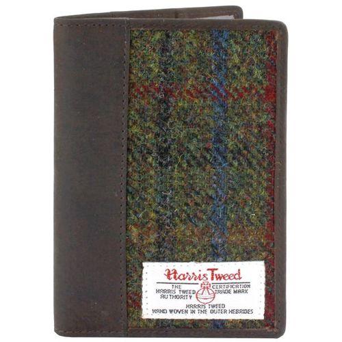 Harris Tweed Leather Trim Passport Holder: Breanais Green