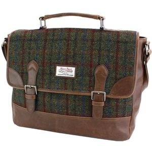 Harris Tweed Briefcase Satchel PU Trim: Breanais Green