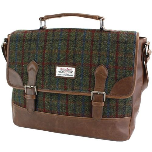 Harris Tweed & PU Trim Satchel Briefcase: Breanais Green