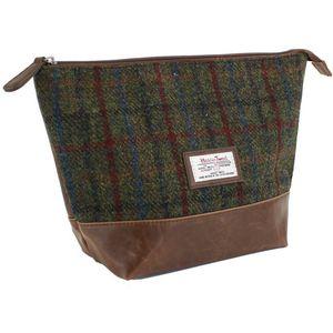 Harris Tweed Travel Wash Bag PU Trim: Breanais Green