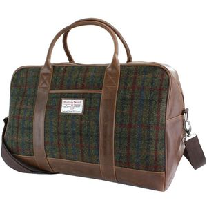 Harris Tweed Travel Holdall PU Trim: Breanais Green