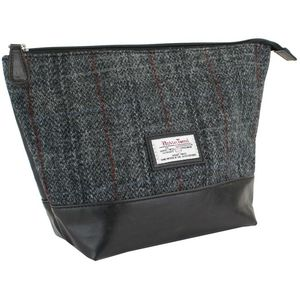 Harris Tweed Travel Wash Bag PU Trim: Berneray Grey