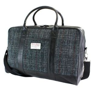 Harris Tweed Travel Holdall PU Trim: Berneray Grey