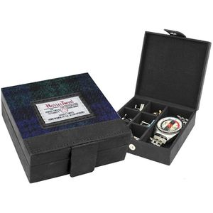 Harris Tweed Cufflinks/Watch Trinket Box: Bragar Black Watch