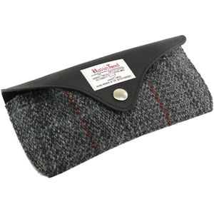 Harris Tweed Glasses Case Leather Trim: Berneray Grey