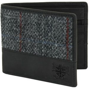 Harris Tweed Wallet Leather Trim: Berneray Grey