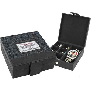 Harris Tweed Cufflink & Watch Box: Berneray Grey